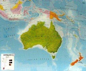 Austrálie - politická nástěnná mapa (1)