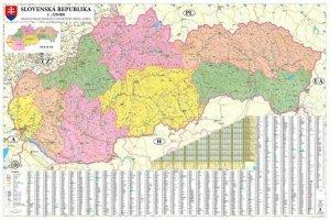 Slovensko - nástěnná mapa krajů 200 x 132 cm (1)