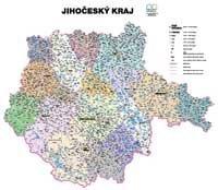Správní uspořádání - Jihočeský kraj v měřítku 1: 150 000 nástěnná mapa Žaket (1)
