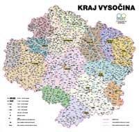 Správní uspořádání - Kraj Vysočina v měřítku 1: 120 000 nástěnná mapa Žaket (1)
