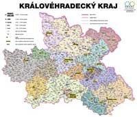 Správní uspořádání - Královéhradecký kraj v měřítku 1: 100 000 nástěnná mapa Žaket (1)