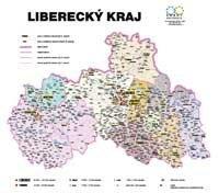Správní uspořádání - Liberecký kraj v měřítku 1: 100 000 nástěnná mapa Žaket (1)